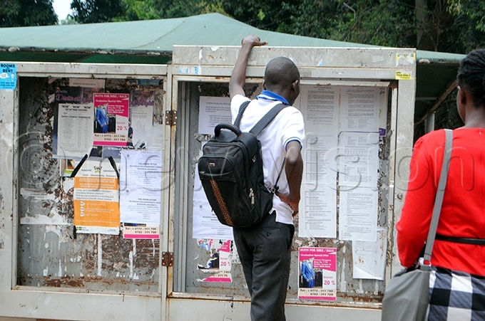 student checks for his name on a notice board at the university hoto by ary ansiime