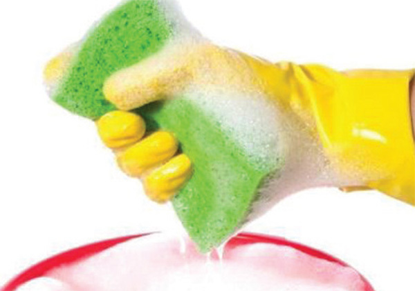 se soapy water and a sponge to clean cushions