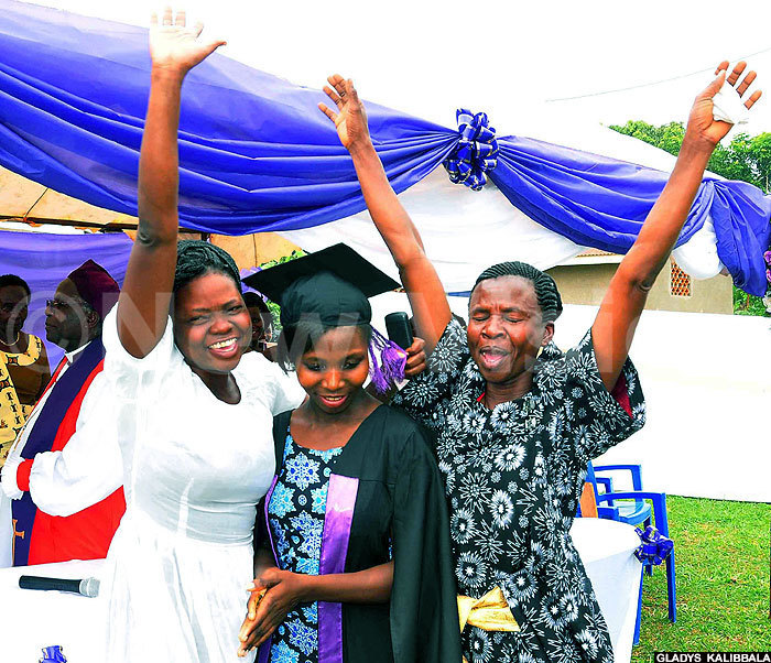 his graduand celebrates with her family