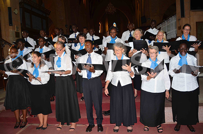 he ampala ingers in action during their aster oncert at amirembe athedral on unday pril 7