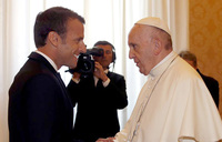 Pope receives French president Macron at the Vatican