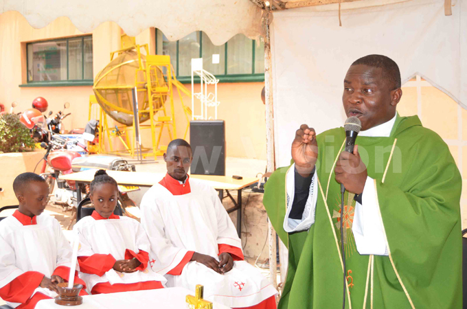 sebunnya preaches to the congregation during the mass on riday