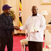 Kanye West gifts Museveni with white sneakers