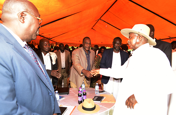 resident useveni greets local leaders at the meeting  hoto