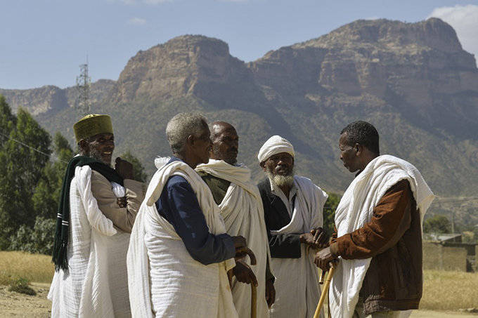 lders dressed in traditional cloth are pictured on the occasion of a reconciliation meeting  hoto