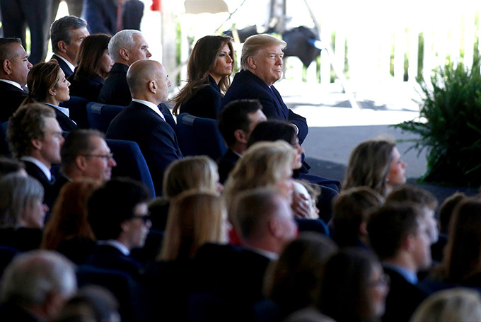 resident onald rump first lady elania rump  ice resident ike ence and his wife second lady aren ence join mourners paying their respects during a funeral service for ev illy raham at the illy raham ibrary on arch 2 2018 in harlotte orth arolina rian lancoetty mages