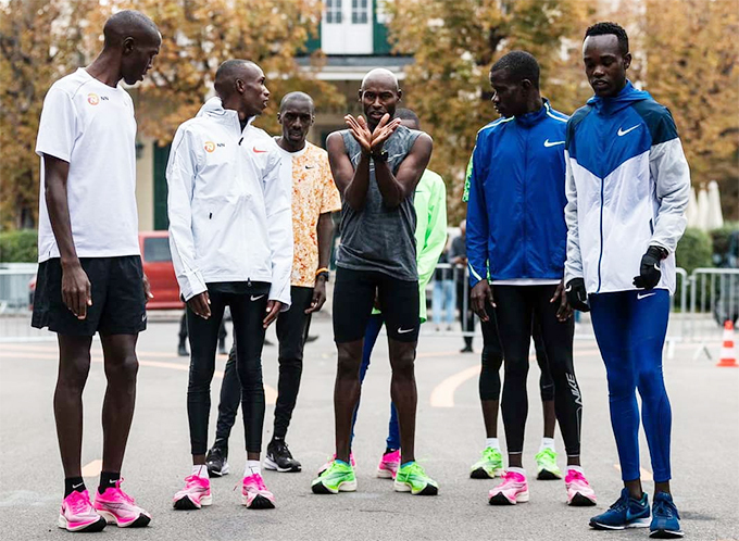 gandan runner onald usagala 2nd right with fellow pacesetters as they got familiar with the course on riday ourtesy hoto