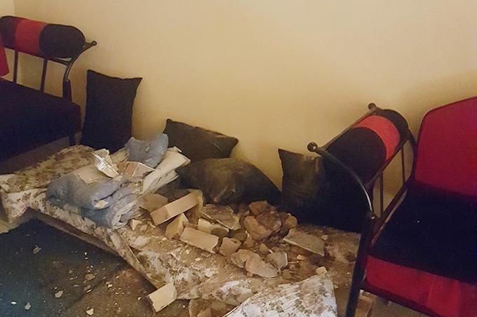 he debris inside abulis living room