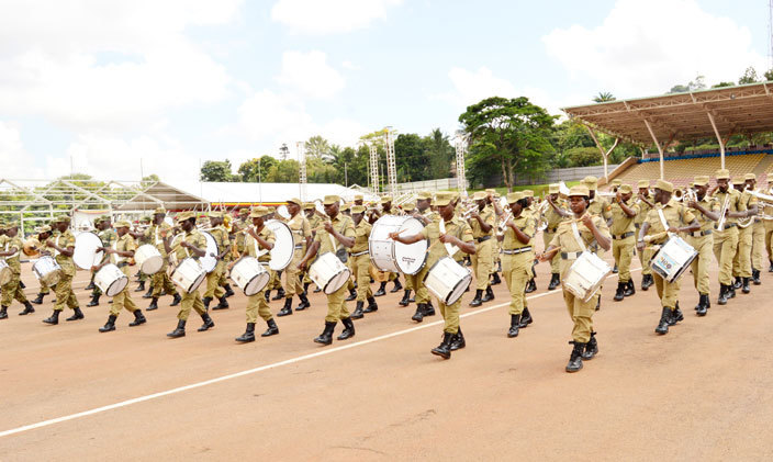 ganda olice orce doing rehearsals for the presidential swearingin ceremony at ololo ndependence rounds hotohamim aad