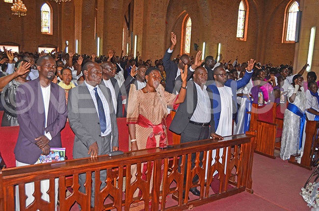 spectacle of mourners during the funeral service at amirembe athedral
