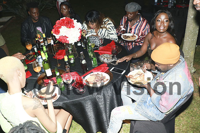 rtistes enjoying the birthday meal