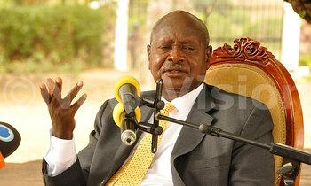 Museveni addressing a press 350x210