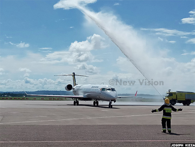he planes received a water salute upon arrival at ntebbe