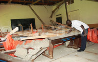 Ceiling nearly falls on students during exam