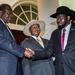 South Sudan's Kiir, Machar in Entebbe for peace talks