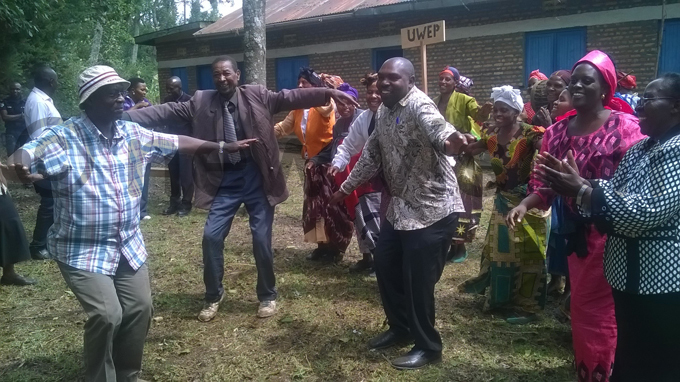 ender inistry ermanent ecretary ius igirimana  joins members of atyanzo rish growing group in a traditional dance performance during the visit ourtesy hoto