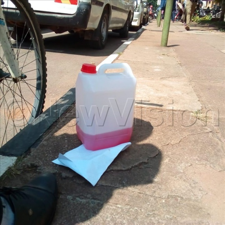 The petrol that Wasswa carried to City Hall. Photos by Deo Damba