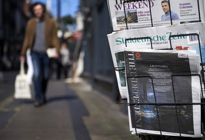 he last print edition of he ndependent on unday is pictured for sale outside a newsagents shop in central ondon on arch 20 2016 his week he ndependent will print its last edition and become a digital only newspaper after paid circulation slumped to about 40000