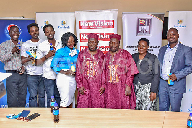 eft to right  sike rmel dikumana  rnold dikumana wesiga ato ussein asswa assan aija and bore posing for a picture at the launch of wins festival 2019