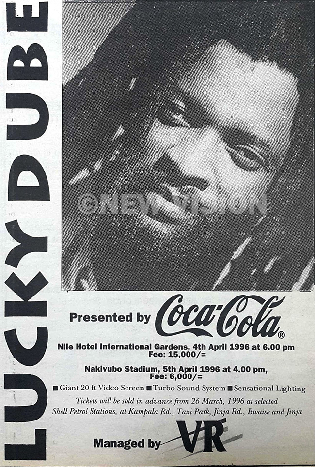 he advert for ucky ubes concerts in 1996 at ile otel and akivubo stadium