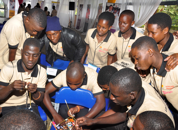 tudents performing a practical exercise of constructing a tower during the  opening of the leadership congress at eroma hristian igh chool in ukono district on ept 7 2016 hoto by rancis morut