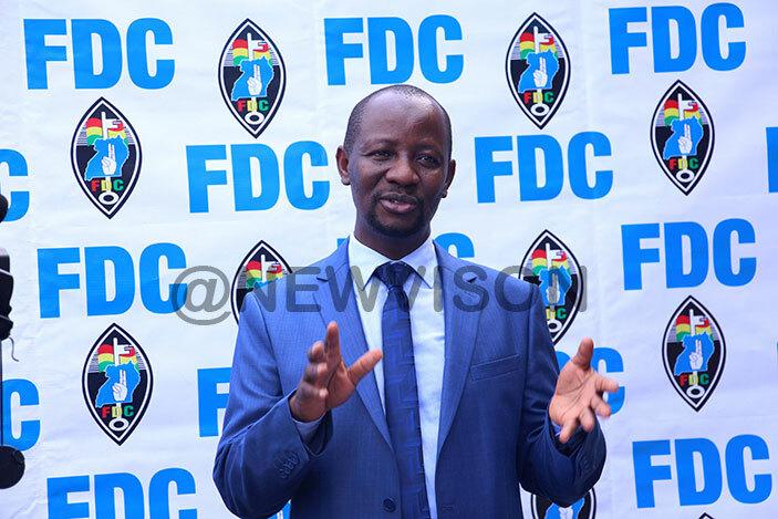 FDC spokes person Semujju Nganda adressing journalists at the FDC headquaters at Najjanankumbi on Monday 1 July 2019. (Photo by Ivan Kabuye.)
