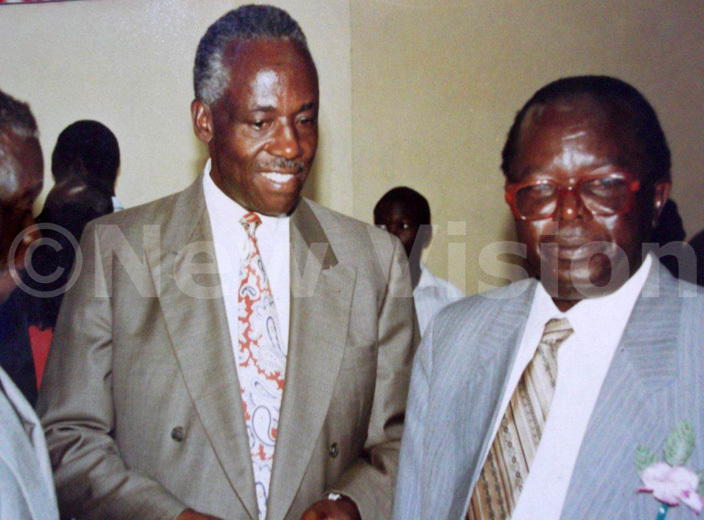 he founder of ayebe auce packers the late  mmanuel akoli atende with his friend and fellow entrepreneur the late ames ulwana