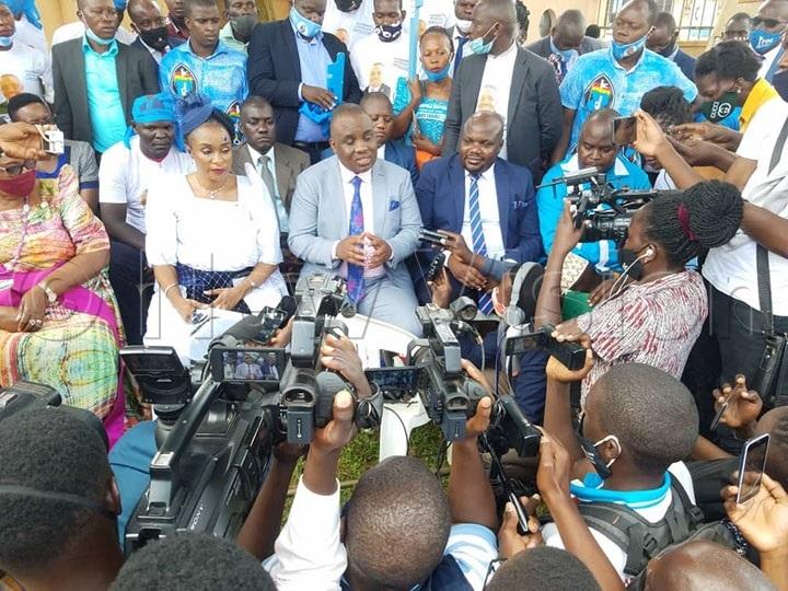 Erias Lukwago addresses the media after his nomination