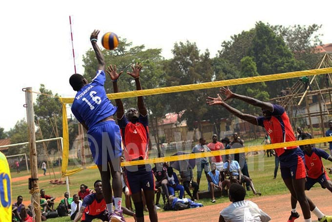 kumba men volleyball team in action with  at the just concluded club championships in ira hoto by errick adria