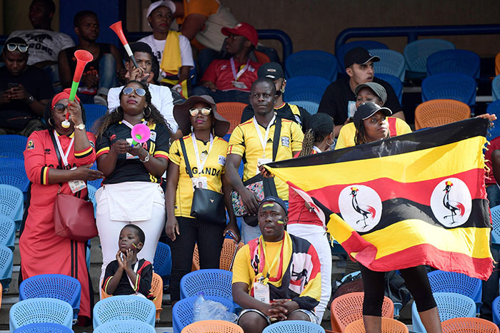 ganda fans cheer for their team prior to the 2019 frica up of ations  football match between  ongo and ganda at airo nternational tadium on une 22 2019 hoto by
