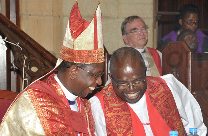rchbishop enry uke rombi with his successor tanley tagali during his installation at amirembe athedral