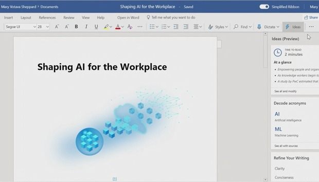 Word integrates Microsoft's 'Ideas' to improve your writing with AI smarts