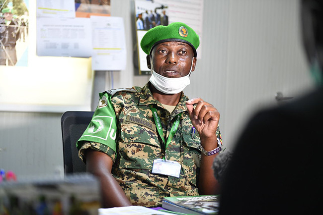 he ommanding fficer in harge  evel wo ospital in ogadishu aptain r ideon uwagira speaks during an interview in ogadishu omalia