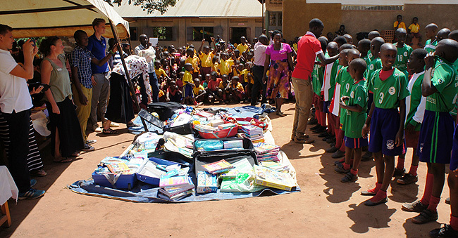 ags books and jerseys are among the scholastic stuff donated to t eters rimary chool in gogwe redit ulius uwemba