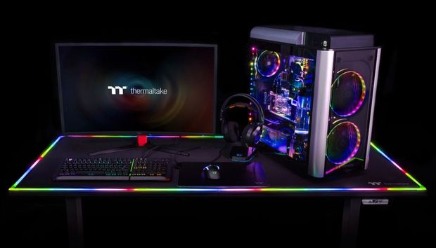 Thermaltake reveals a monstrous, RGB-laden $1,200 motorized desk for gamers