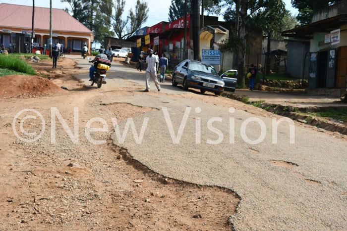 ne of the roads in banda town with open potholes