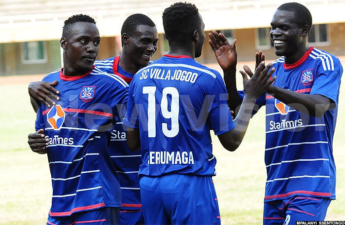 Villa players celebrating after scoring a goal in the league. File Photo