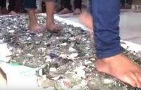 Walking barefoot on broken glass to 'overcome exam phobia'