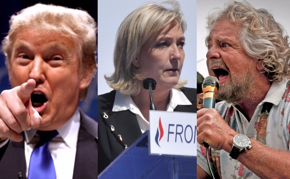 The populist policies of Donald Trump (left), Marine Le Pen (middle) and Beppe Grillo won favour among voters in the US, France and Italy respectively. Photos: Gage Skidmore/Blandine Le Cain/Flickr/iStock