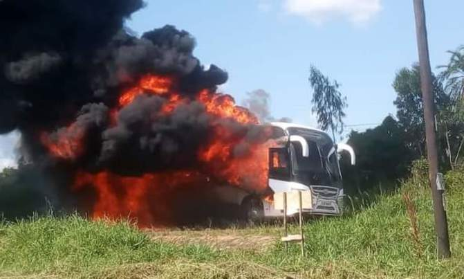 Parliamentary bus transporting COVID-19 patients catches fire
