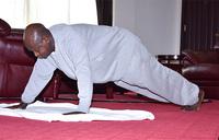 Exercising indoors: President Museveni walks the talk