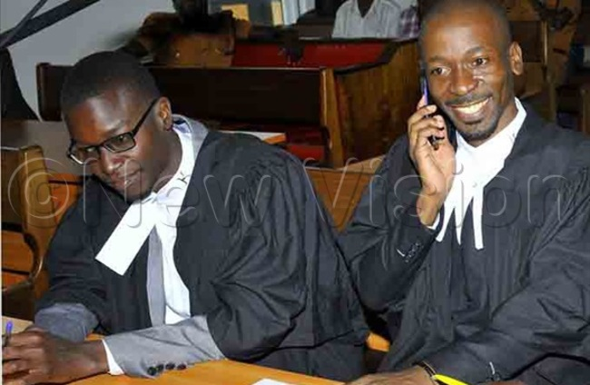 erald winyi and saac emakadde from egal rains rust representing tella yanzi during the hearing of their client charged of cyber crime at nternational rimes ivision of igh ourt in ganda anuary 23 2020hoto by ilfred anya