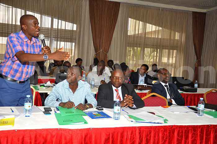 he  of iboga ickson uwagaba addressing participants during the regional budget consultative meeting at otel rovad in asaka district hoto by rancis morut