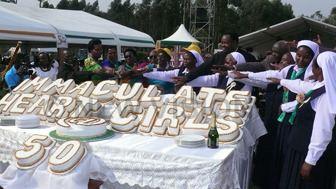 utting of golden jubilee cake at mmaculate eart irls chool yakibale hoto by