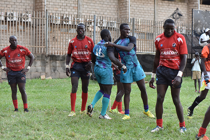 obs players celebrate one of the tries scored during the match hoto by ichard anya