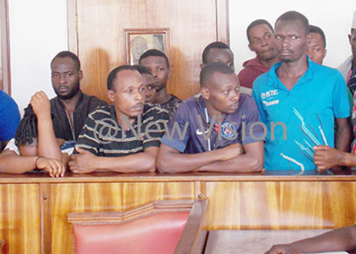 uspects in the dock during the ourt proceeding at uganda oad he group are charged with possession of stolen property his was on ctober 31 2019  hotos by ouglas ubiru