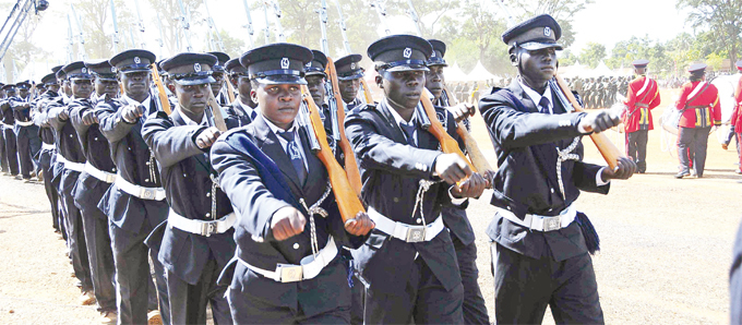 olice officers take part in a marchpast during independence day celebrations last year ecurity remains a priority for the  government
