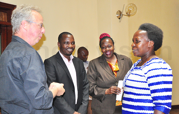 xfam gandas incent och red andera ara erwegi and local government state minister ennifer amuyangu interacting with during the dialogue hoto by ancy anyonga