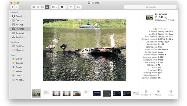 MacOS Mojave: How to use Gallery View and view metadata in the Finder