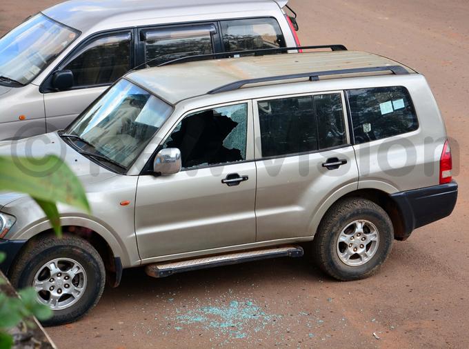 car damaged during the students strike on uesday hoto by iriam amutebi